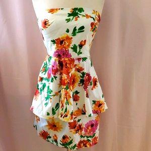 Betsey Johnson strapless peplum dress sz 2 [843]
